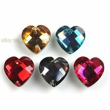 100pcs 24586 Assorted Heart Faceted Sew-on Resin Flatback Beads 14mm Free P&P