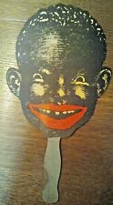 ANTIQUE HAND HELD FAN AFRICAN AMERICAN BLACK AMERICANA THE PICCANINNY RESTAURANT