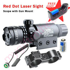 Tactical Rechargeable Red Dot Laser sight rifle gun scope Rail & Barrel Mount
