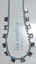 "NWT LIA SOPHIA ""DAMSEL"" NECKLACE - BLUE & MIRRORED GLASS - 2012/$88"