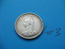 NICE SOLID SILVER 1887 QUEEN VICTORIA JUBILEE SHILLING LOT 3 FREE UK INSUREDPOST