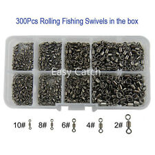 300Pcs Fishing Rolling Swivel Fishing Swivel Tackle Connector Size 2#-10#