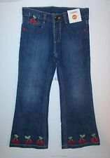 Gymboree Cherry Cute Embroidered Cuff Blue Denim Jeans Girls 4T NEW NWT