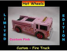 Hot Wheels Custom Pink Fire Engine Truck Fire Eater Rescue Flames Treasure Hunt