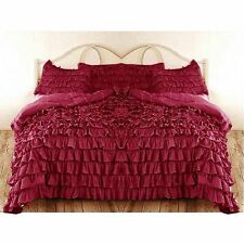Extra 13 Ruffle Colors & Bed Sizes WaterFall Duvet Cover Set 100% Cotton 1000TC