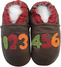 carozoo numbers dark brown 4-5y soft sole leather kids shoes