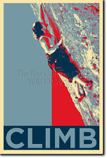 ROCK CLIMBING ART PHOTO PRINT (OBAMA HOPE) POSTER GIFT BOULDERING MOUNTAIN