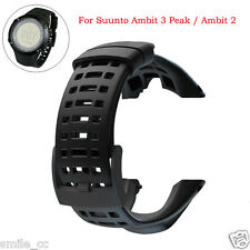 For Suunto Ambit 3 Peak/Ambit 2 Rubber Smart Watch Band Replacement Strap Black