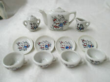Vintage Japan porcelain Child's Teaset Boy & Girl Bunnies Bunny Rabbit Courting