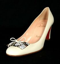 CHRISTIAN LOUBOUTIN Milk White Patent Floral Placard Heels Pumps 38