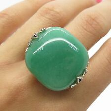 WF 925 Sterling Silver Large Natural Aventurine Marcasite Gemstone Ring Size 7