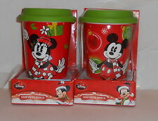 DISNEY PAIR MICKEY AND MINNIE CERAMIC TRAVEL MUGS WITH SILICONE LIDS