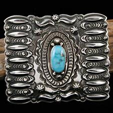 A+ Darryl Becenti  Concho Belt Buckle Sterling Silver Navajo Natural Turquoise .