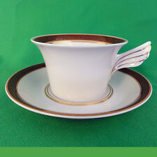 MEDAILLON MEANDRE MAROON Rosenthal CUP & SAUCER VERSACE  Germany NEW NOT USED