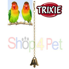 TRIXIE BIRD CAGE TOY GOLD METAL BELL with HANGING CHAIN & CLIP