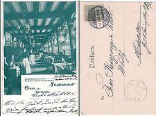 Karlsruhe, Friedrichshof Restaurant der Brauerei Sinner, leicht beschnitten 1905