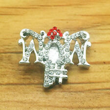 New 3D Rhinestone Drill MOM Charm Chunk Snap Button fit for Noosa Bracelet DE13