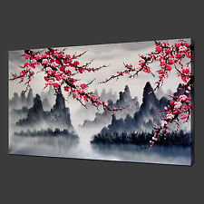 "MOUNTAINS CHERRY BLOSSOM POSTER MODERN PICTURE CANVAS PRINT 20""x16"" FREE UK P&P"