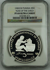 1982 Tunisia Silver 5 Dinars Proof Coin, NGC PF-68 UC, Year of the Child