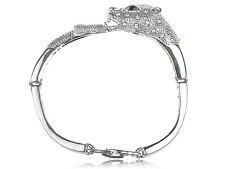 Silver Tone Metal Alloy Crystal Rhinestone Jaguar Animal Cuff Bracelet Bangle