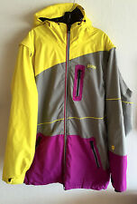 Orage Mens Ski Parka w/ Hood  Zip Off Sleeves  Gray w/ Yellow & Fuschia  L
