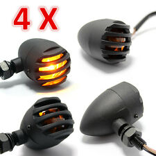 4X Black 12V Motorcycle Turn Signals Bullet Blinker Indicator Lights Amber Lamp