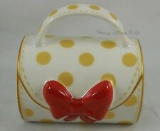 Disney Store Exclusive Ceramic Minnie Mouse Signature Purse 3D Bow Polka Dot Mug