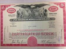 Pan American Airlines (Pan Am) stock certificate authentic aviation collectible