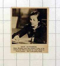 1920 Edith Whalley Deaf Authoress Partly Blind North London School