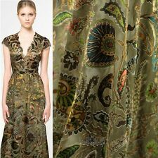 DESIGNER BURN-OUT SILK CHIFFON FABRIC WITH CASHEWS PRINT BY THE YARD S002