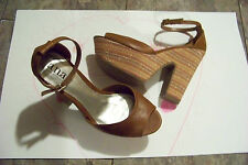 womens a.n.a. jackie cognac super chunk stripe heels shoes size 8 1/2