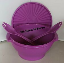 Tupperware Large Servalier Salad Bowl w/ forks  17 Cup Purlicious New