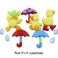 PUDDLE JUMPERS DRESS IT UP NOVELTY CRAFT BUTTONS DUCK UMBRELLA RAIN HOBBY SEWING