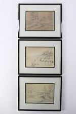 1888-89 Pencil Sketches 3 Folk Art Framed Drawings Scenics Near Mashall, MO