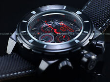 New Invicta 50mm Mens Combat Military Stealth Corduba Chrono Red Accent SS Watch