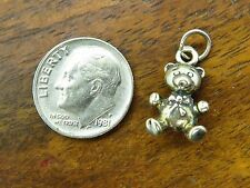 Vintage silver ANTIQUE TEDDY BEAR TEDDYBEAR w/ BOW PATINA charm FOR BRACELET