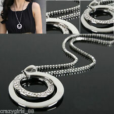 Fashion Women Crystal Rhinestone Pendant  Silver Plated Long Chain Necklace