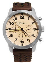 Fossil FS5178 Pilot 54 Chronograph Date Silver Brown Leather Band Watch New
