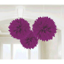 3 Purple Wedding Engagement Party Hanging Fluffy Tissue Paper Ball Decorations