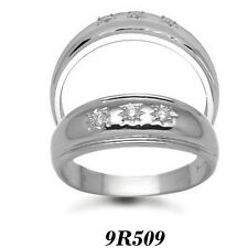 Finest 9 carat White Gold 12pts Gents 3 Stone Diamond Engagement Ring AT/9R509
