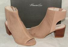Kenneth cole CHARLO Beige Leather Perforated Open Toe Bootie Shootie sz 7 NEW