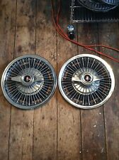 1965 Oldsmobile Wire Hubcaps With 2 Bar Spinners