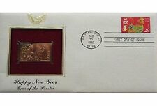 1992 HAPPY NEW YEAR OF THE ROOSTER 22kt Gold Golden Replica Cover Stamp FDC FCI