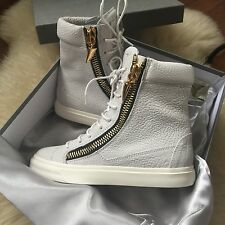 Giuseppe Zanotti White Pebbled Leather Sharktooth High Top Sneakers 39 $1000