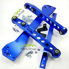 Subrame Bar+Lower Tie Bar+Rear Lower Control Arm For Honda Civic EK 96-00 Blue