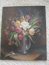 VINTAGE 1930'S TO 1940 STILL LIFE  FLOWERS OIL ON CANVAS 18 X 21.5 INCHES SIGNED