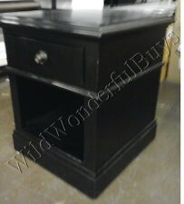 Pottery Barn Branford Side Table Warm Black End Classic Drawer Crown Molding NIB