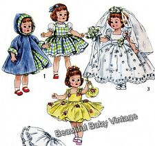 Vintage SEWING PATTERN 1950 DOLL Clothes Dress Coat Pinafore Robe 16 inch COPY
