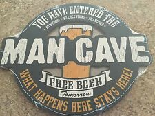 MAN CAVE NO Whining Chick Flicks Excuses FREE Beer Wood Sign Plaque