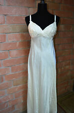Flora Nikrooz Long Ivory Satin Bridal Night Gown Floral Crochet Lace Back Large